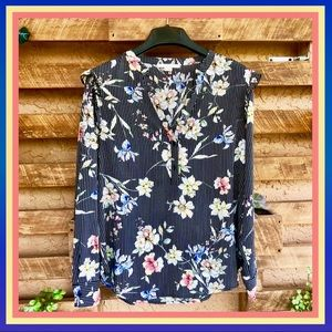 Long Sleeve Shirt With Flowers And Stripes